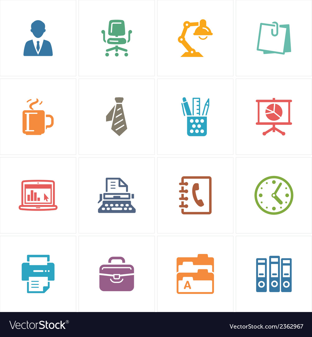 Office icons - colored series vector | Price: 1 Credit (USD $1)