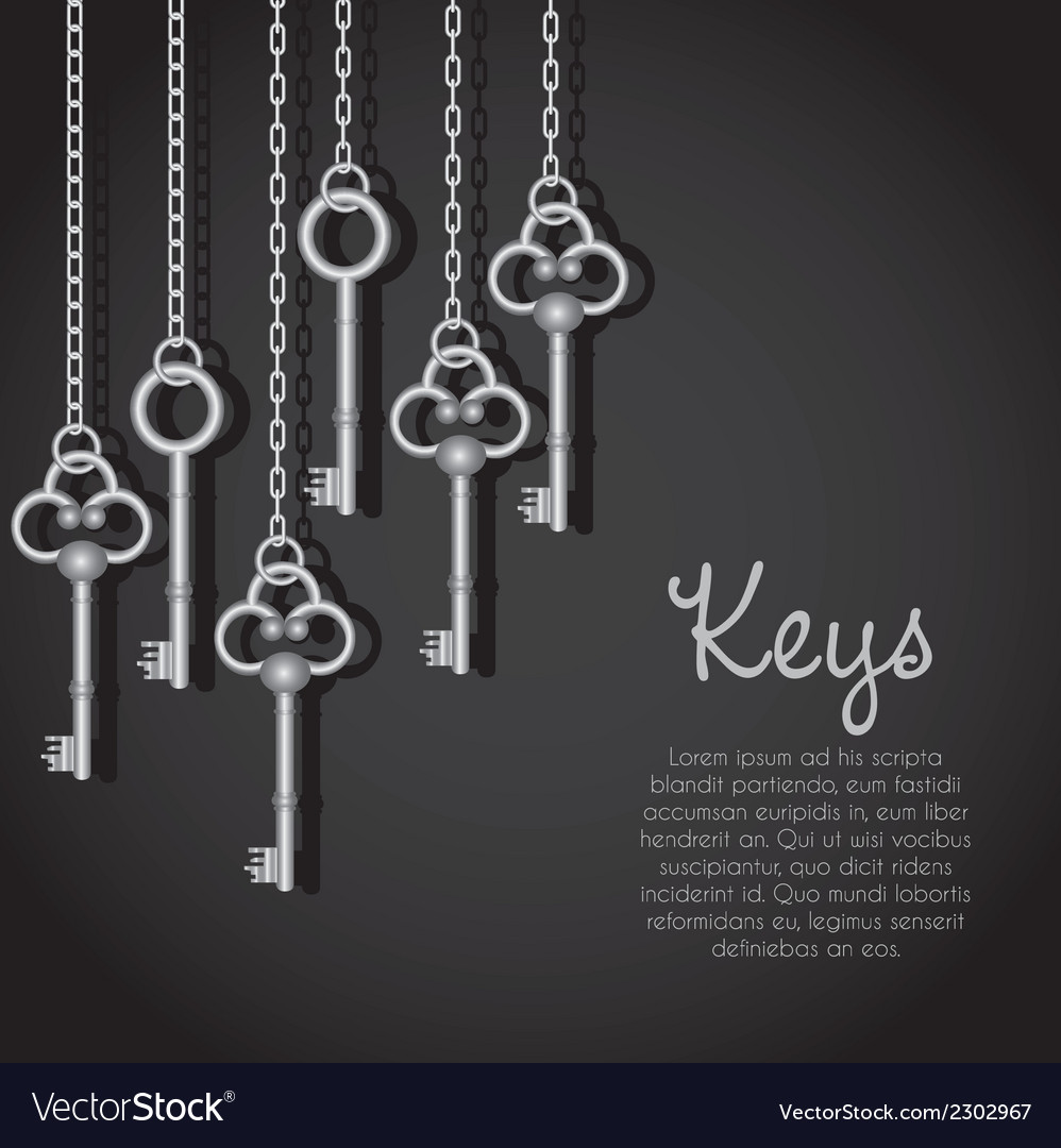 Old silver keys hanging string vector | Price: 1 Credit (USD $1)