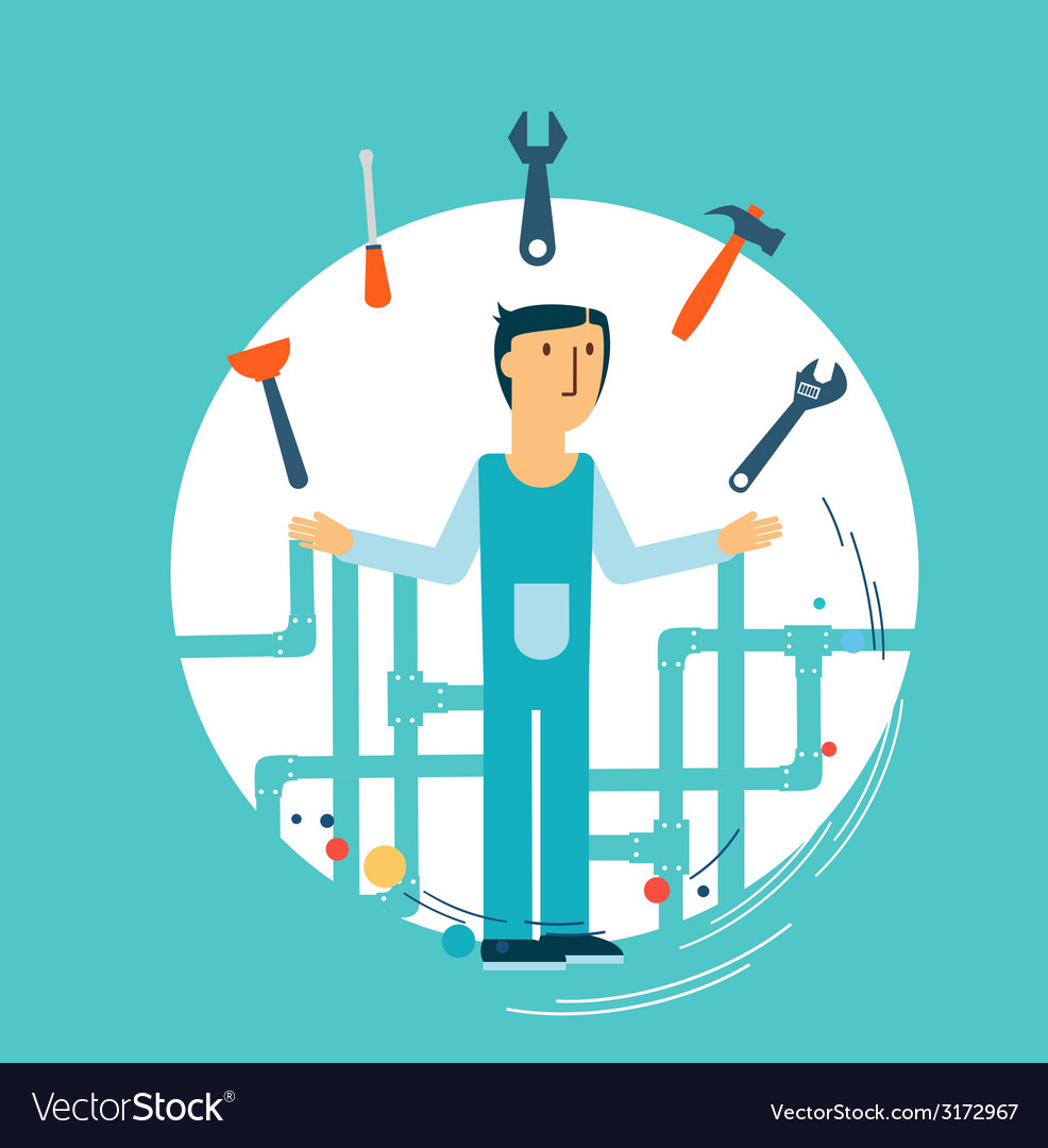 Plumber at work vector | Price: 1 Credit (USD $1)