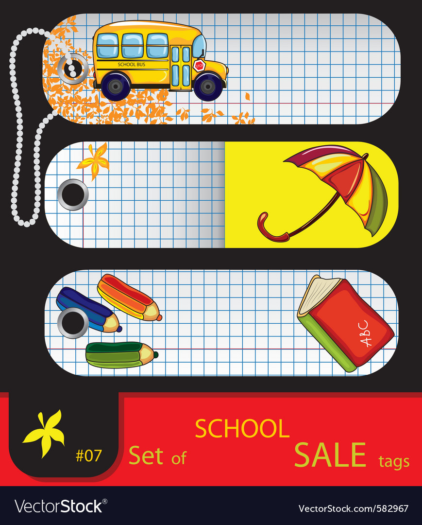 Price tags school elements vector | Price: 1 Credit (USD $1)