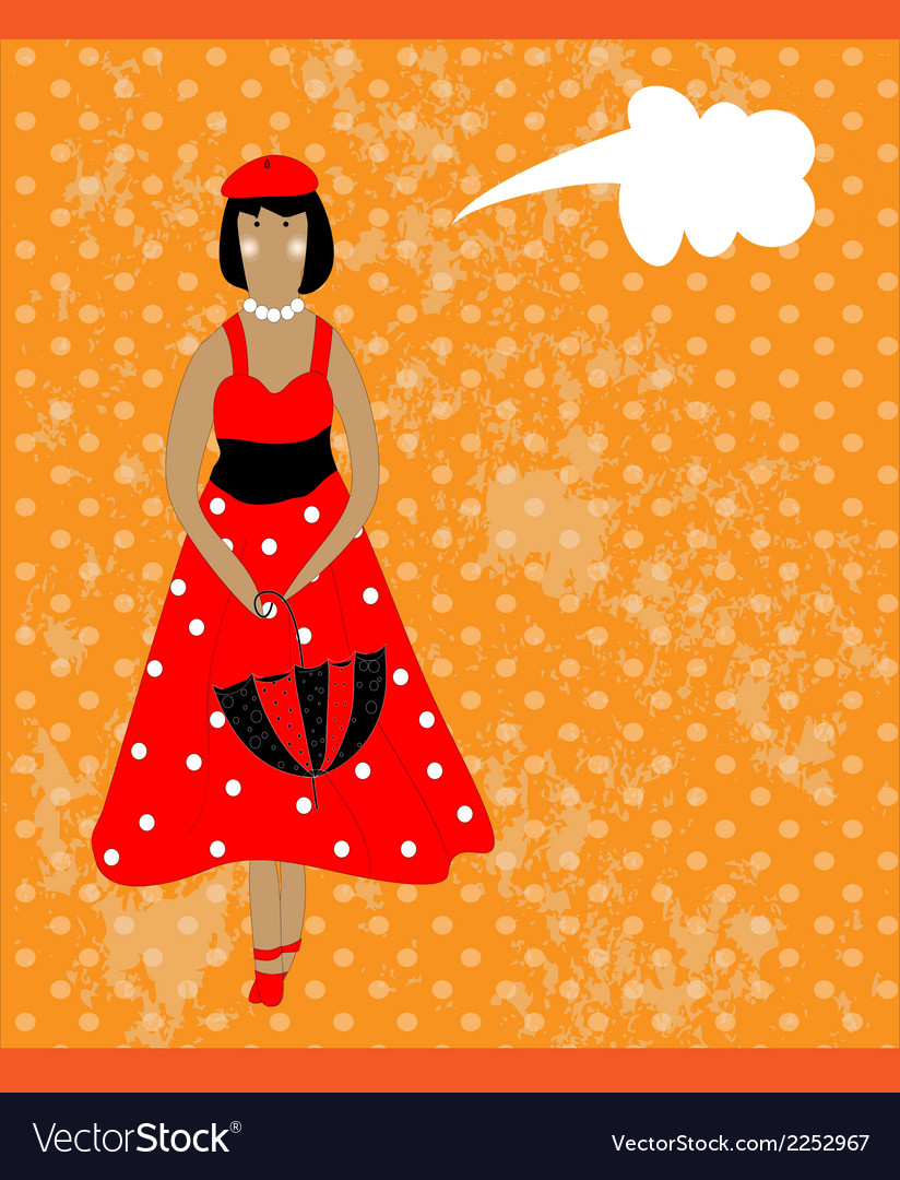 Retro card with girl in red vector | Price: 1 Credit (USD $1)