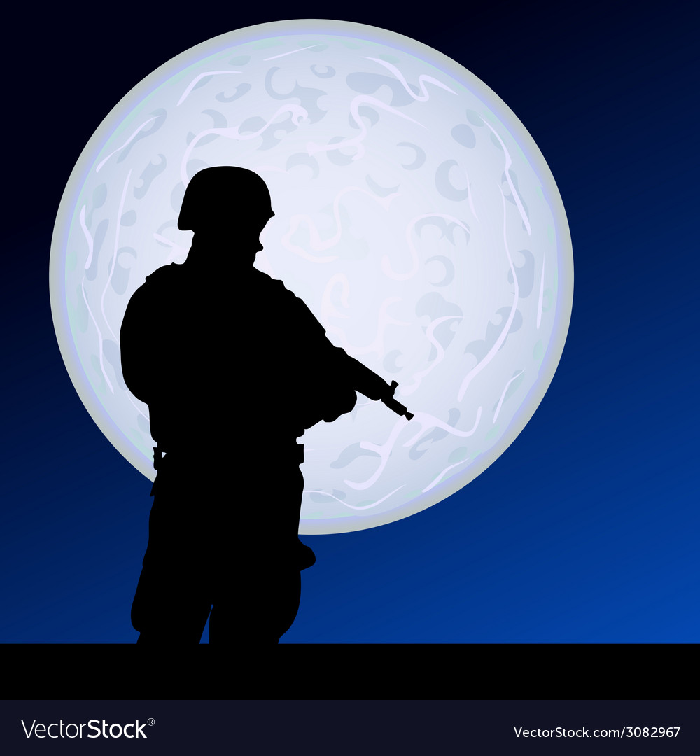 Soldier in the moonlight color vector | Price: 1 Credit (USD $1)