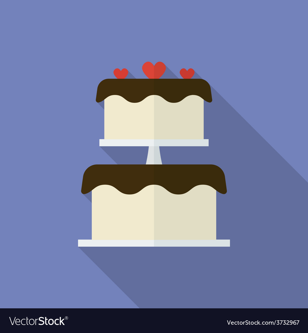 Wedding cake or festive cake flat style icon vector | Price: 1 Credit (USD $1)