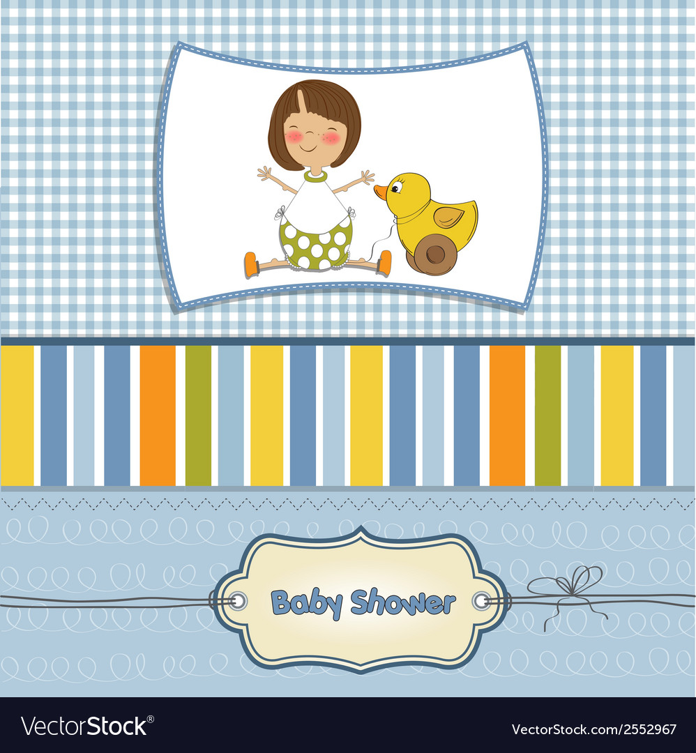 Welcome baby card with girl and and her duck vector | Price: 1 Credit (USD $1)