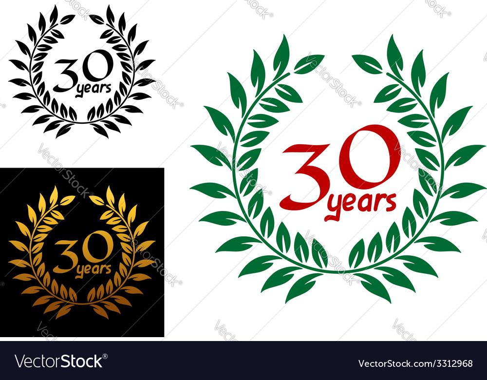 30 years anniversary laurel wreaths vector | Price: 1 Credit (USD $1)