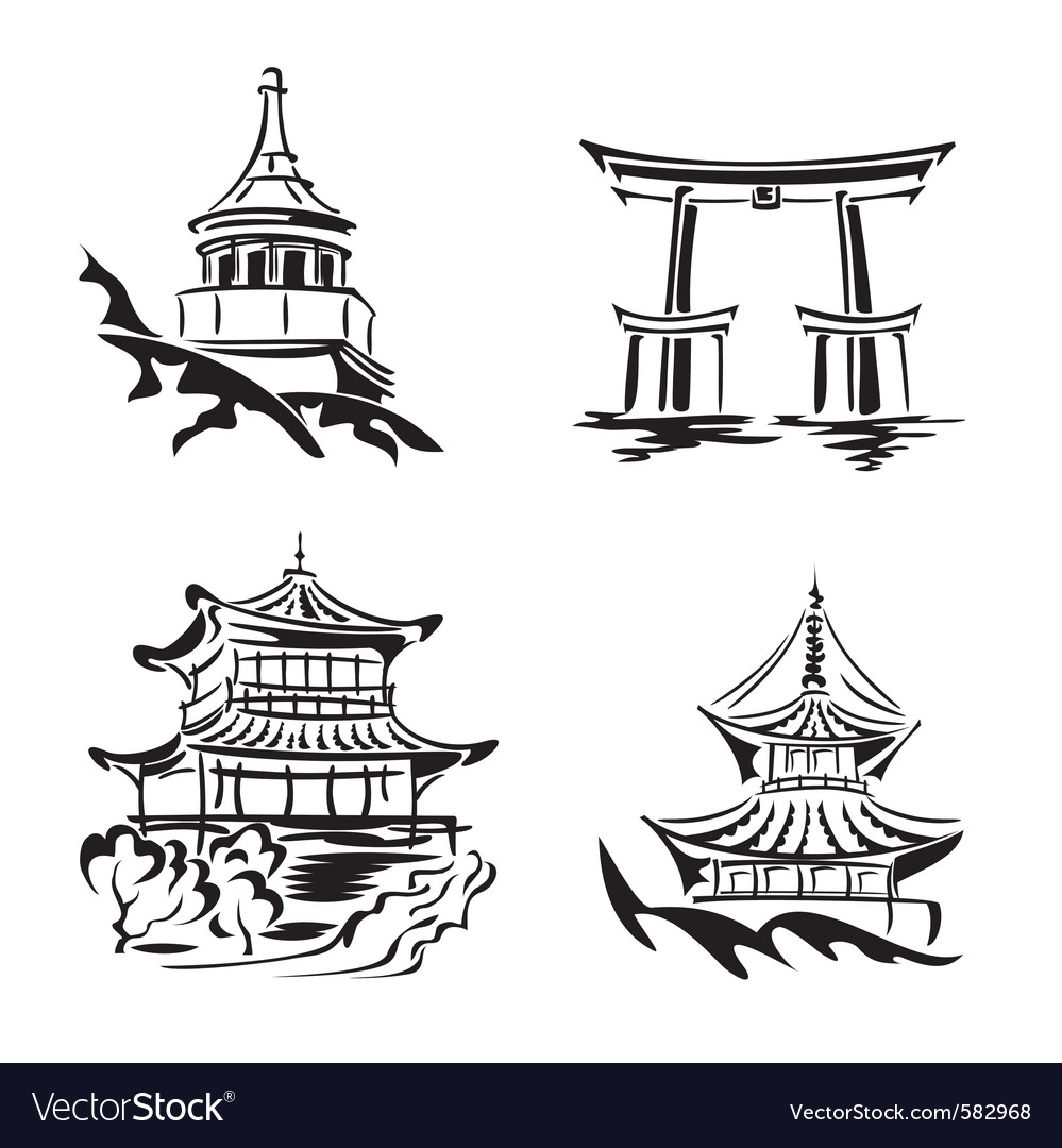 Asian temples vector | Price: 1 Credit (USD $1)