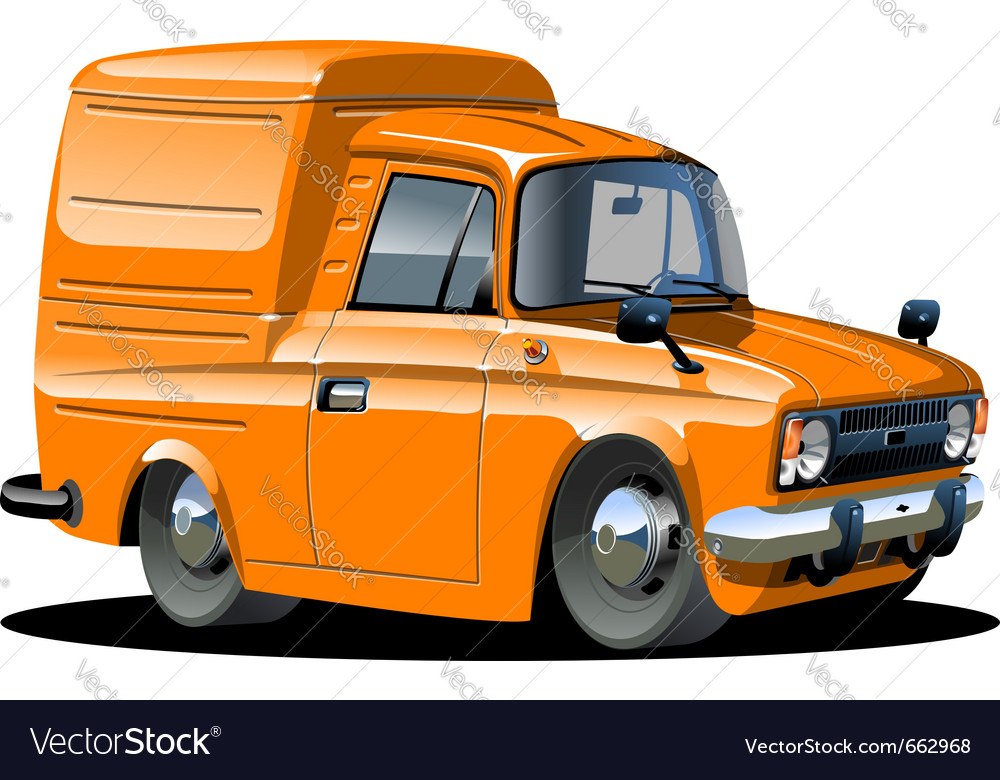 Cartoon delivery van one click repaint vector | Price: 3 Credit (USD $3)