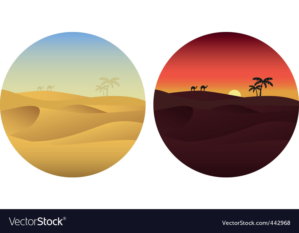 Day and night in desert vector | Price: 1 Credit (USD $1)