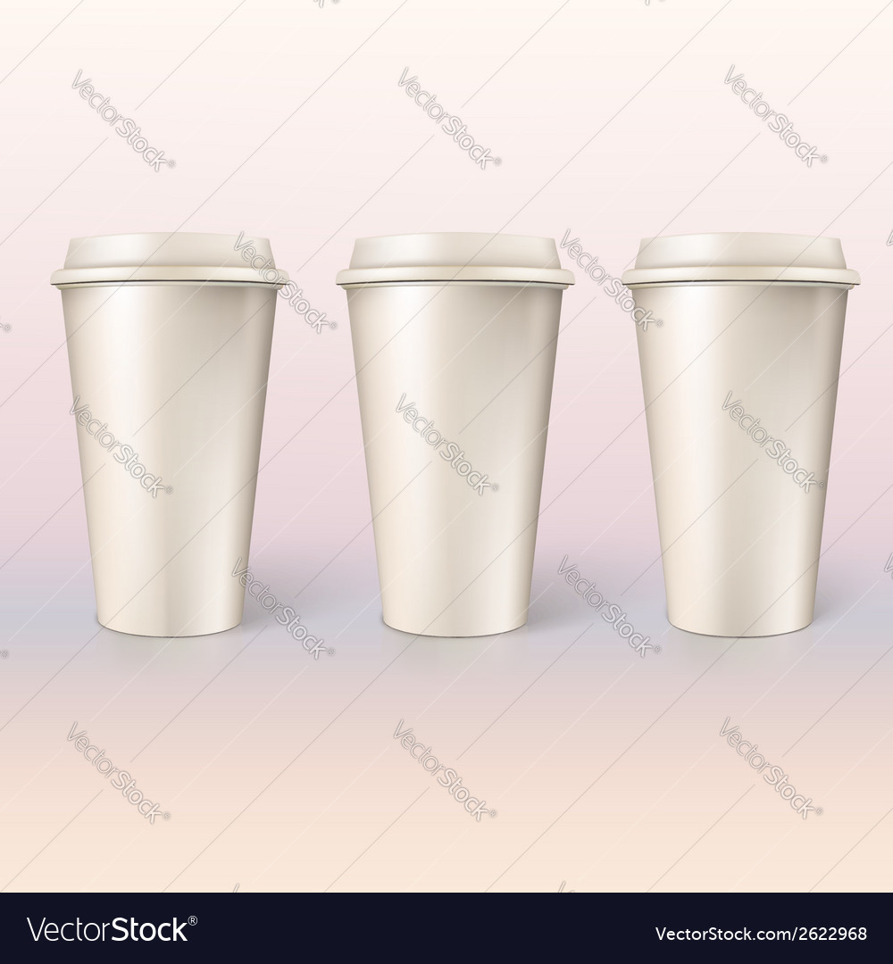 Disposable cups for coffee closeup vector | Price: 1 Credit (USD $1)