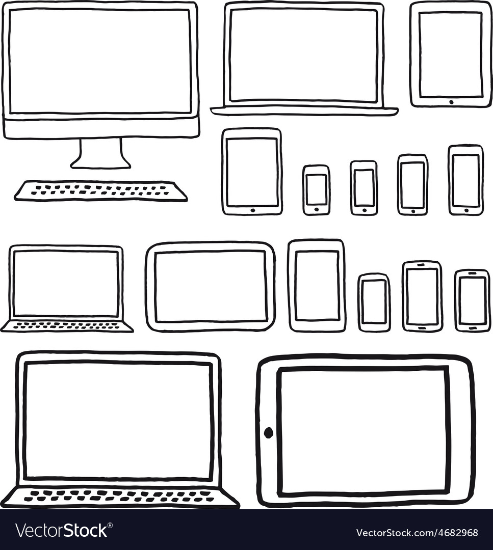 Hand-drawn devices set vector | Price: 1 Credit (USD $1)