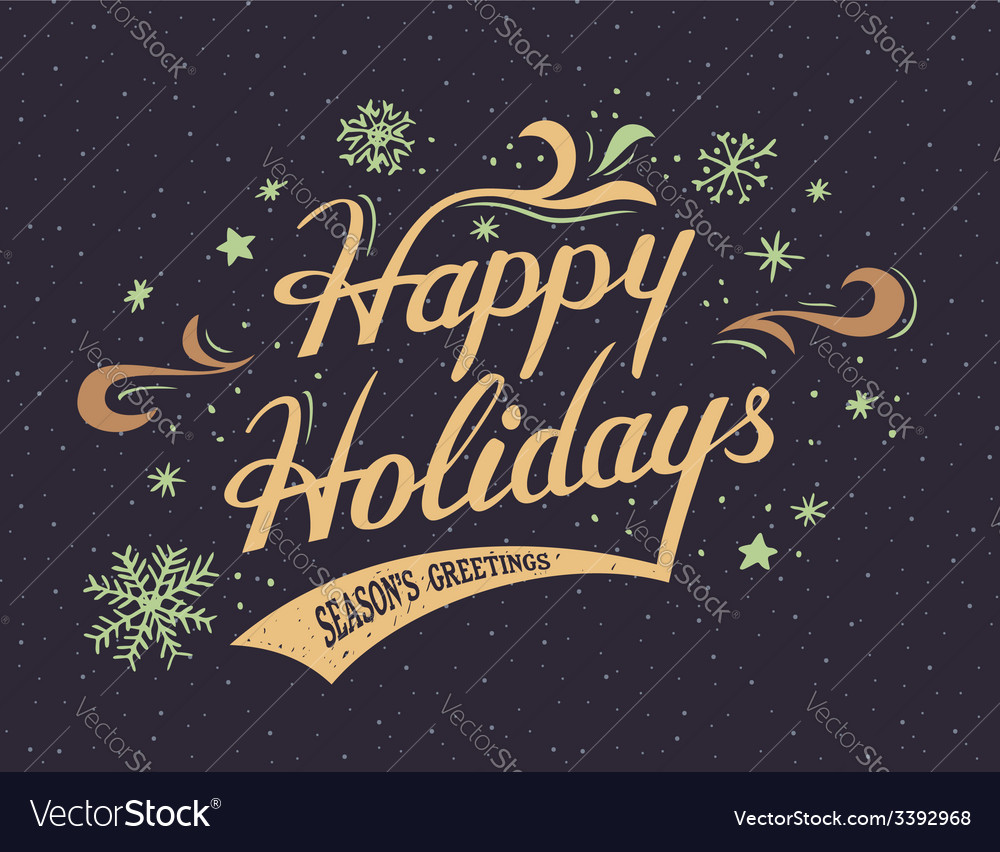 Happy holidays hand-lettering card vector | Price: 1 Credit (USD $1)