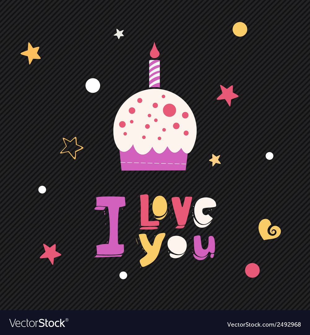 I love you cupcake card vector | Price: 1 Credit (USD $1)