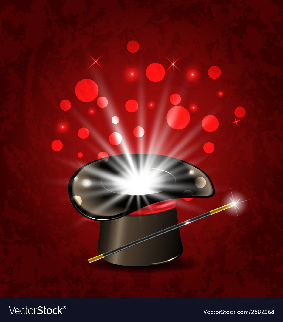 Magician hat wand and magical glow vector | Price: 1 Credit (USD $1)