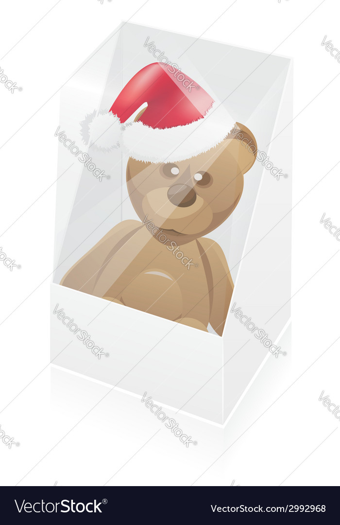 New year packing box with toy bear vector | Price: 1 Credit (USD $1)