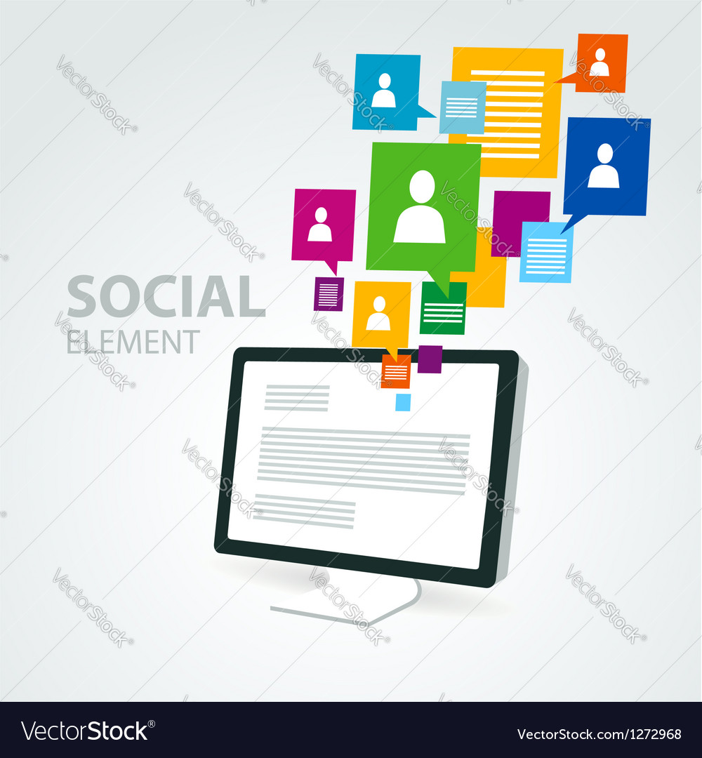 Social icon group element computer pc display vector | Price: 1 Credit (USD $1)