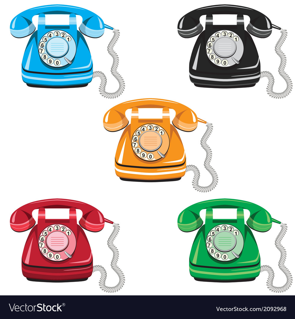 Telephone icon set vector | Price: 1 Credit (USD $1)