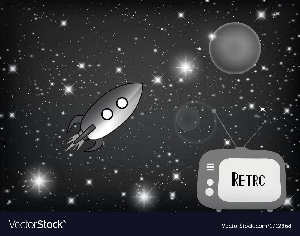 Tv with retro rocket vector | Price: 1 Credit (USD $1)