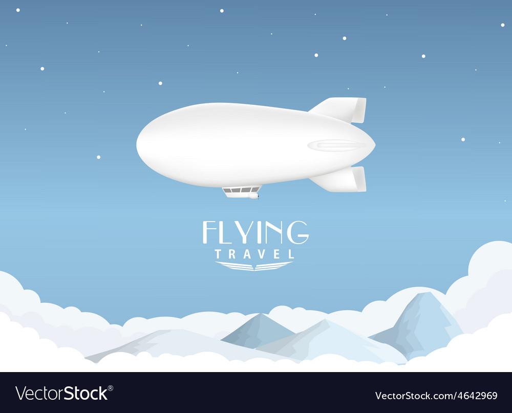 Airship travel background vector | Price: 1 Credit (USD $1)
