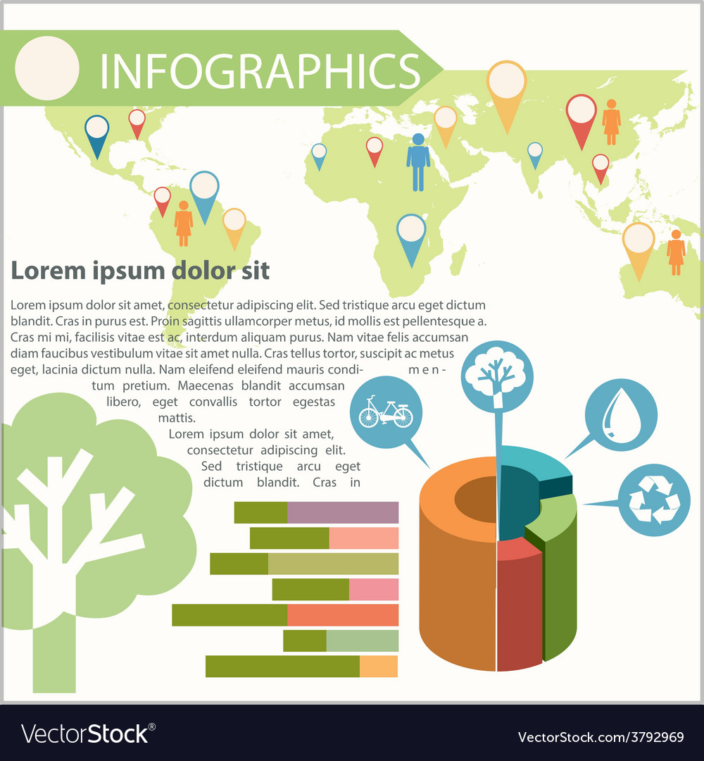 An infographics showing the different locations vector | Price: 1 Credit (USD $1)