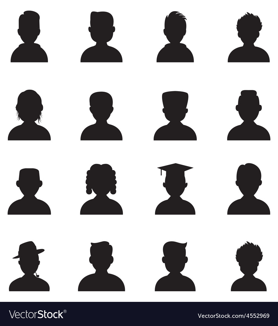 Black icons man avatar vector   Price: 1 Credit (USD $1)