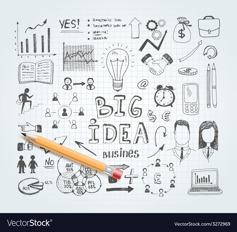 Business idea doodles vector