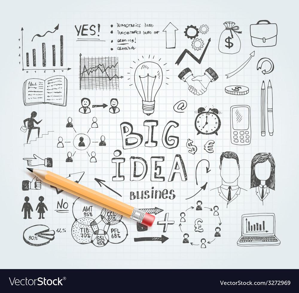 Business idea doodles vector | Price: 1 Credit (USD $1)