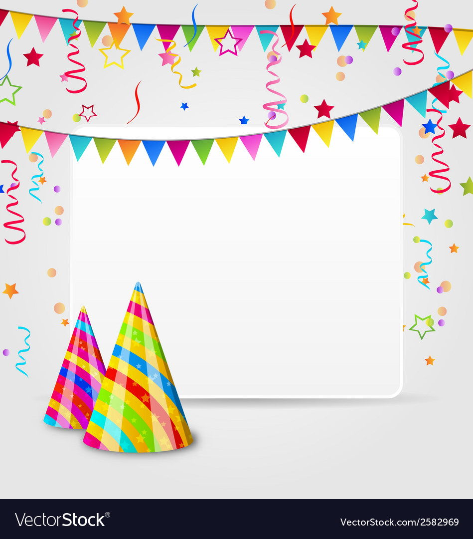 Celebration card with party hats confetti and vector | Price: 1 Credit (USD $1)