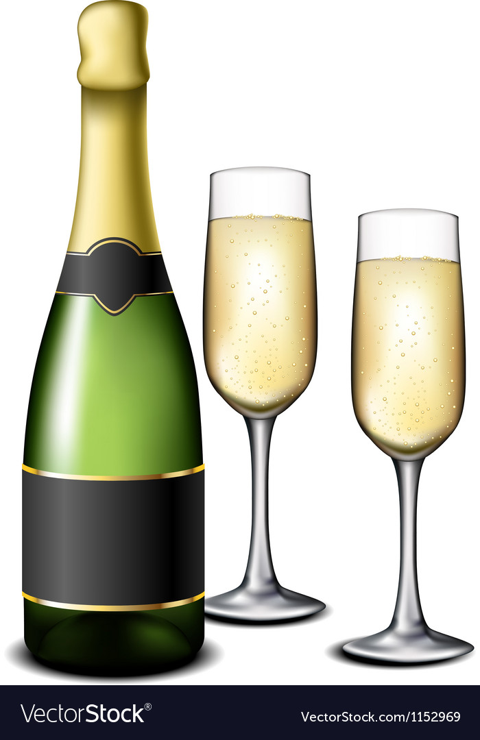 Champagne bottle with glasses vector | Price: 1 Credit (USD $1)