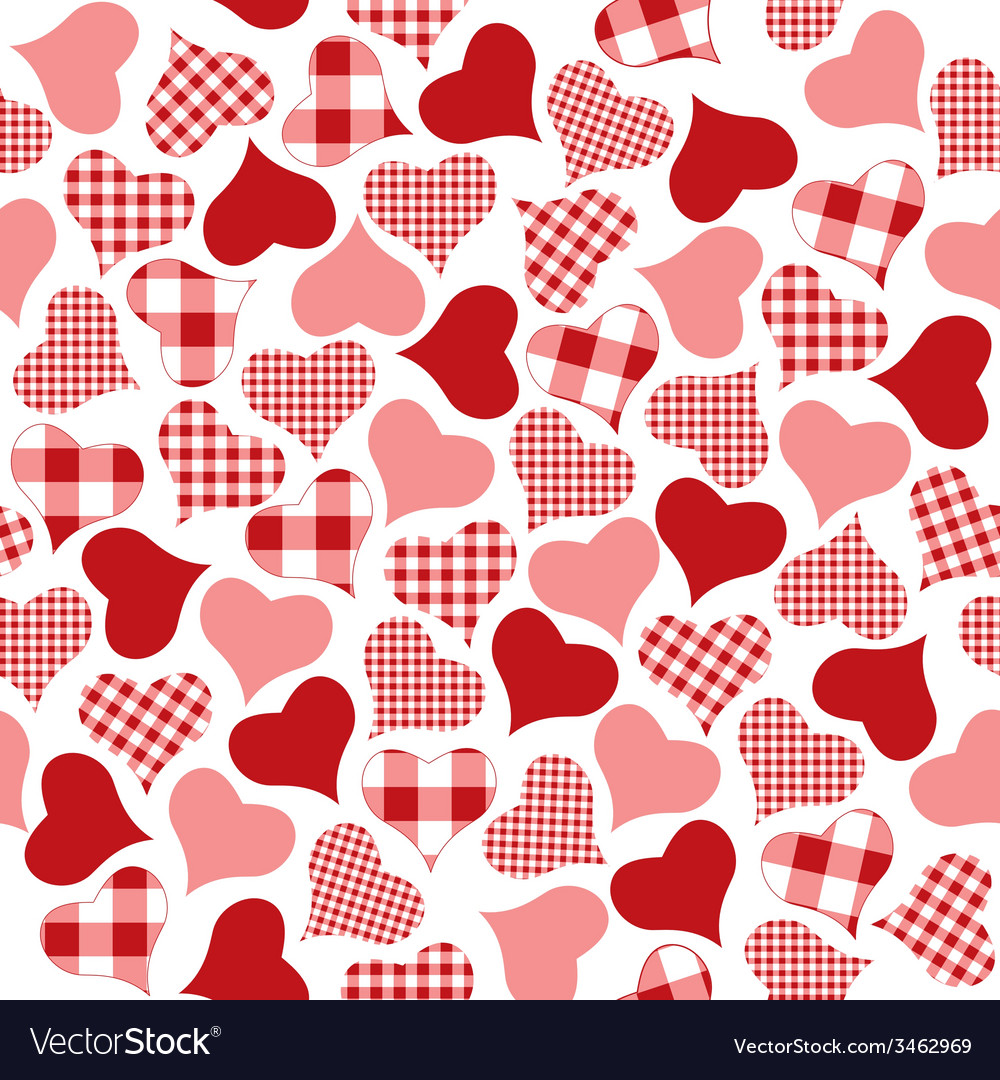 Checkered hearts pattern vector | Price: 1 Credit (USD $1)