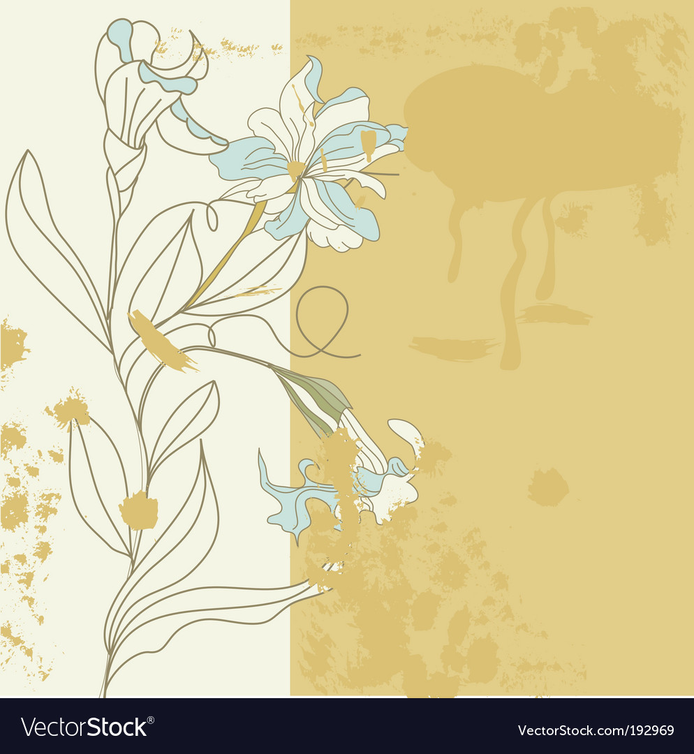 Decorative card with iris flowers vector | Price: 1 Credit (USD $1)