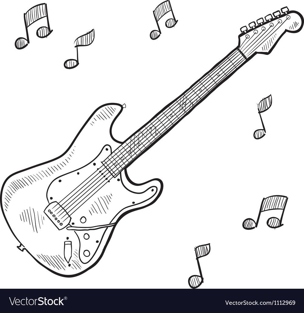 Doodle guitar electric vector | Price: 1 Credit (USD $1)