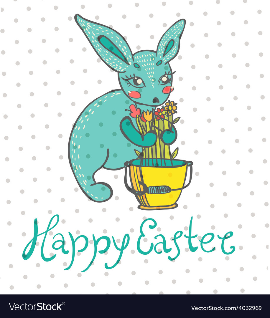 Easter card with rabbit and flowers vector | Price: 1 Credit (USD $1)