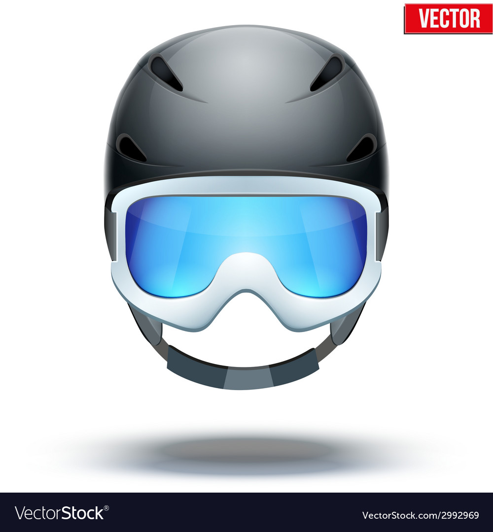 Front view of classic blue ski helmet and orange vector | Price: 1 Credit (USD $1)