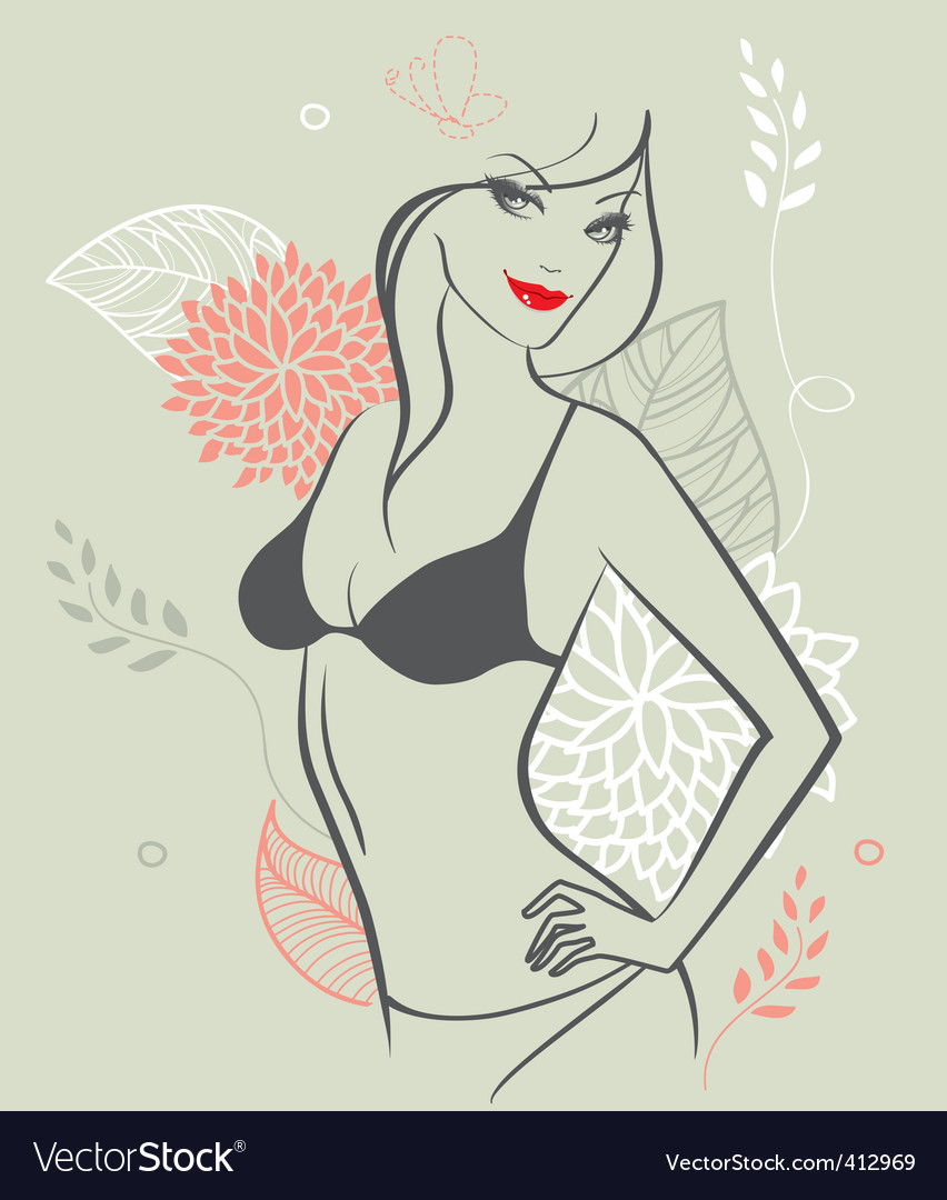 Girl nude floral vector | Price: 3 Credit (USD $3)
