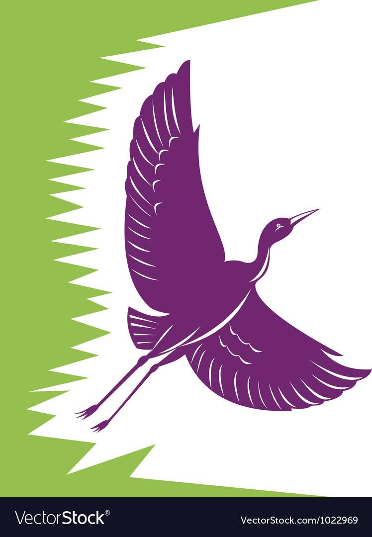 Heron crane flying retro vector | Price: 1 Credit (USD $1)