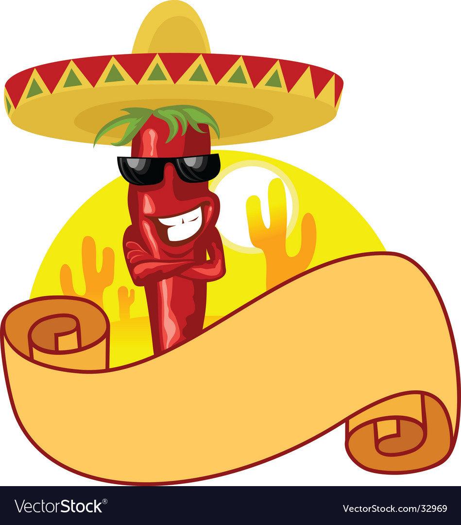 Hot chili and banner vector