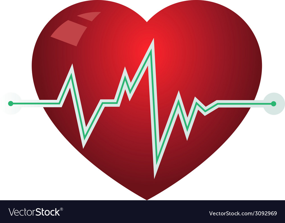 Icon heart with pulse graph vector | Price: 1 Credit (USD $1)