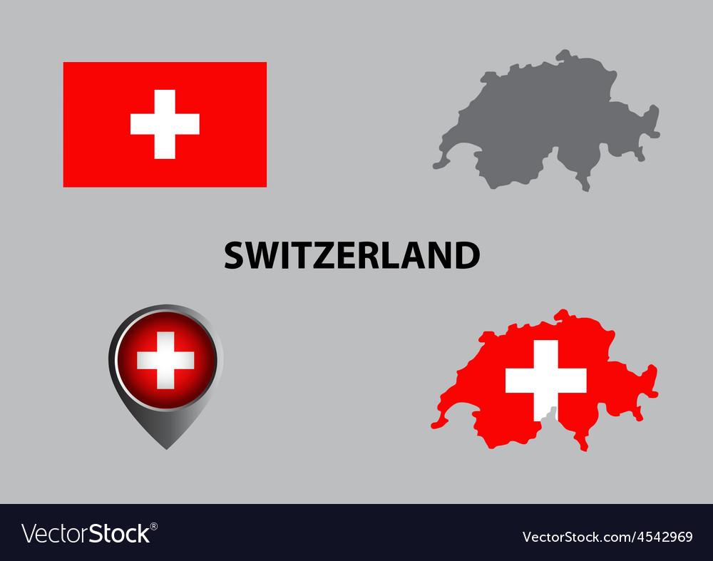 Map of switzerland and symbol vector | Price: 1 Credit (USD $1)