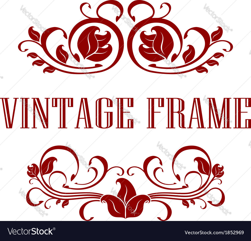 Pretty floral vintage frame vector | Price: 1 Credit (USD $1)