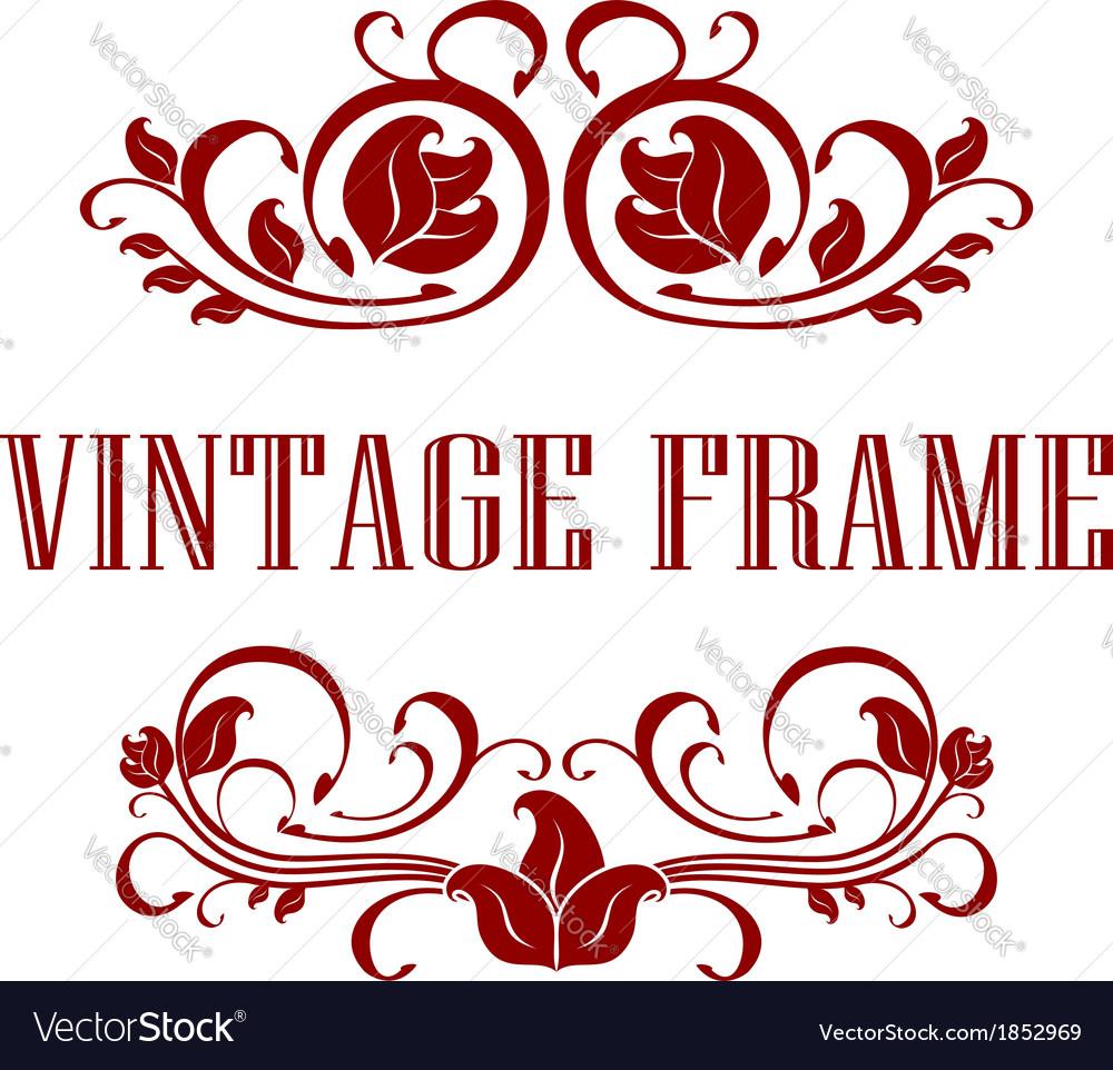 Pretty floral vintage frame vector | Price: 1 Credit (USD $1)