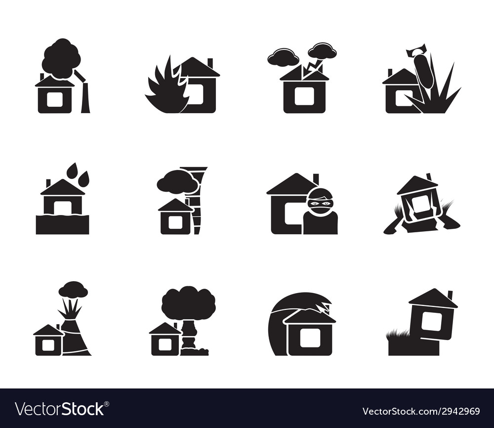 Silhouette home and house insurance and risk icons vector | Price: 1 Credit (USD $1)