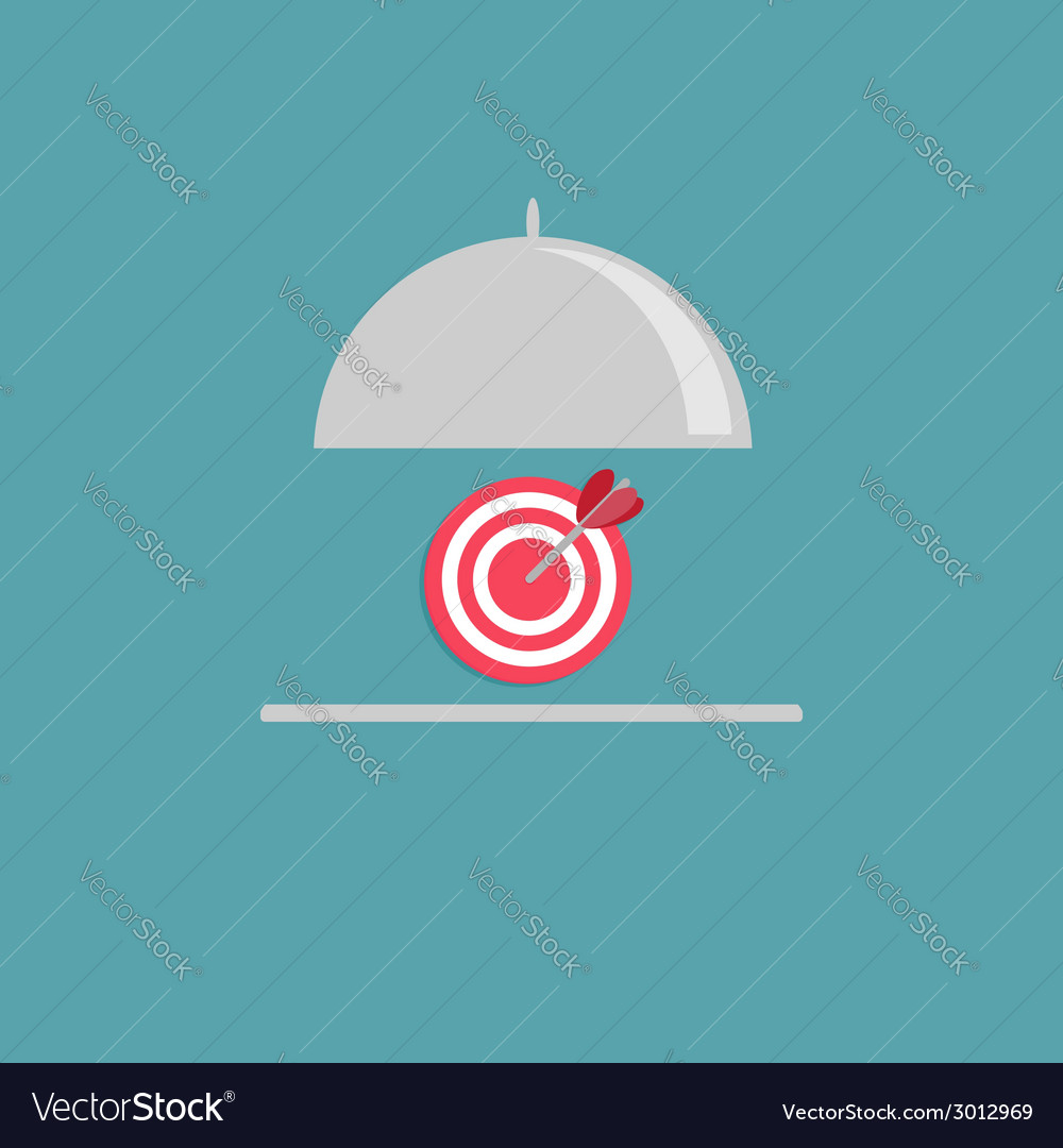 Silver platter cloche and target flat design style vector | Price: 1 Credit (USD $1)