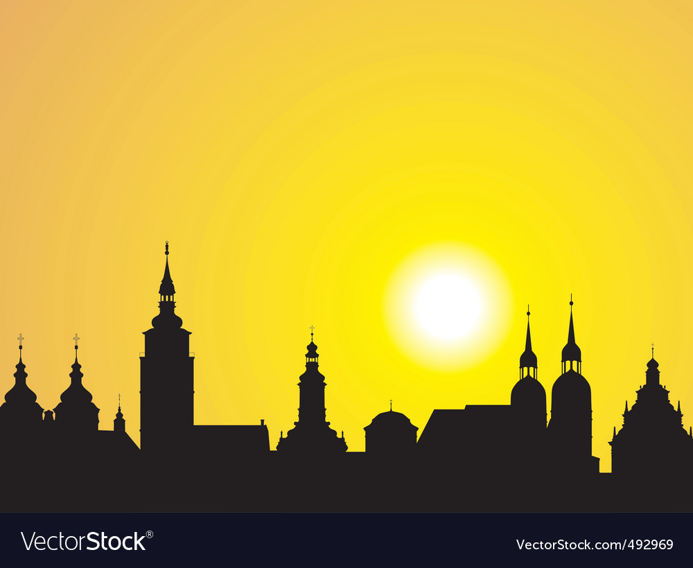 Sunrise over the historic city vector | Price: 1 Credit (USD $1)