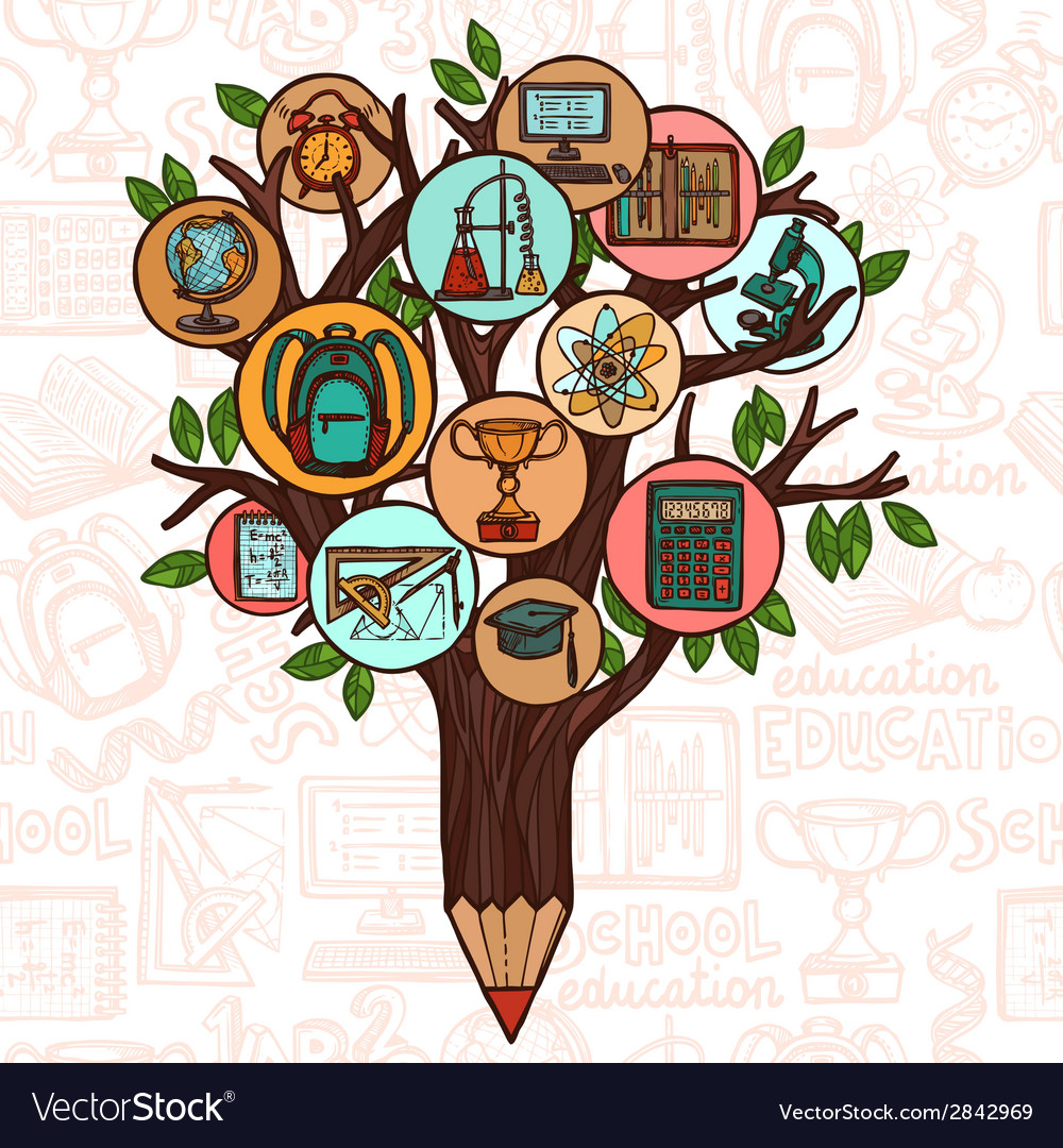 Tree with education icons vector | Price: 1 Credit (USD $1)