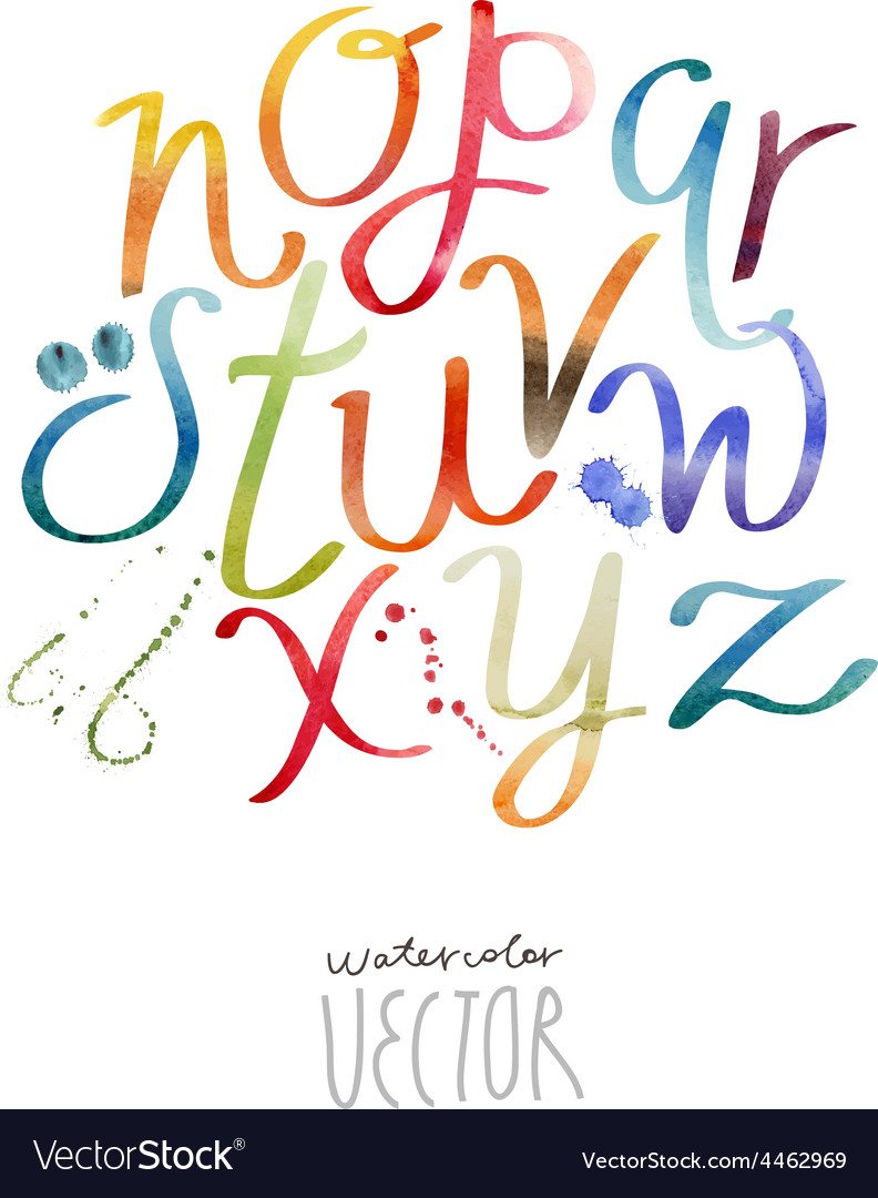 Watercolor abc part2 vector | Price: 1 Credit (USD $1)