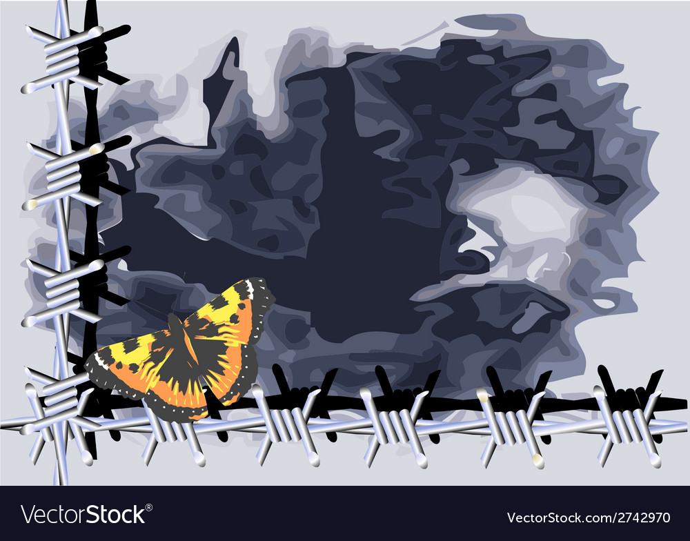 Butterfly and barbed wire vector | Price: 1 Credit (USD $1)
