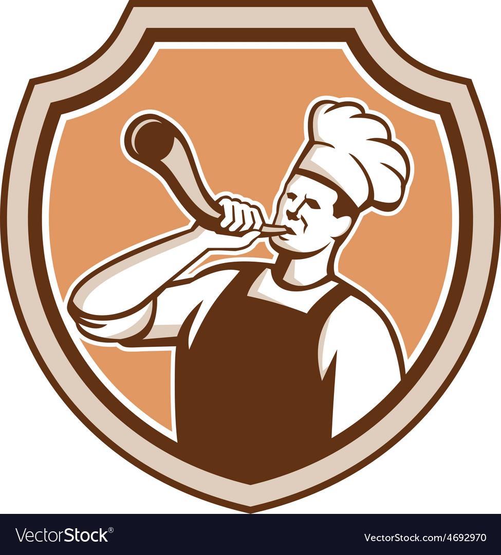 Chef cook blowing bullhorn shield retro vector   Price: 1 Credit (USD $1)
