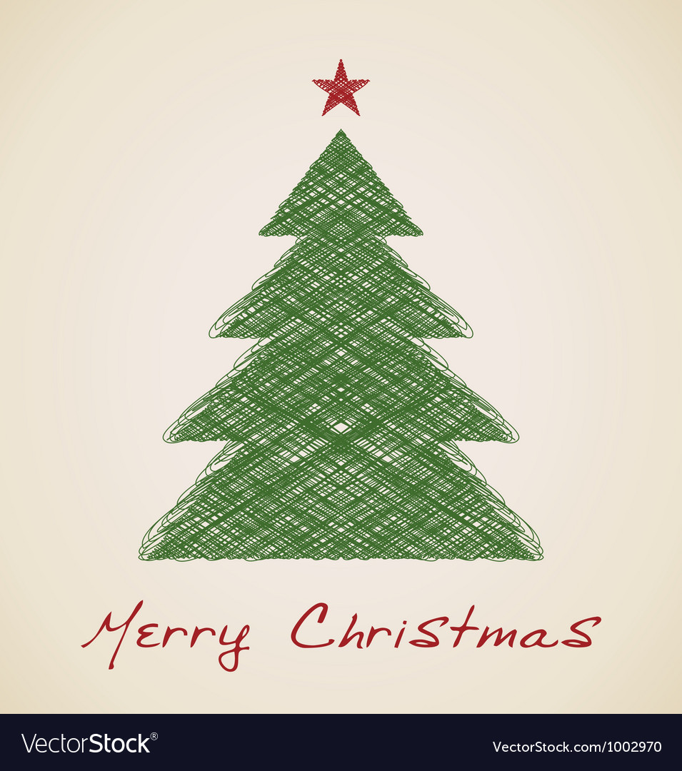 Christmas sketch fir tree vector | Price: 1 Credit (USD $1)