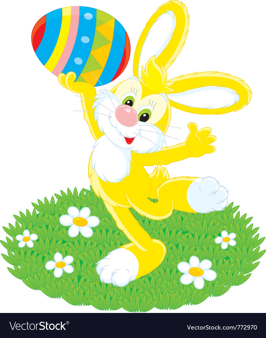 Easter bunny and painted egg vector | Price: 3 Credit (USD $3)