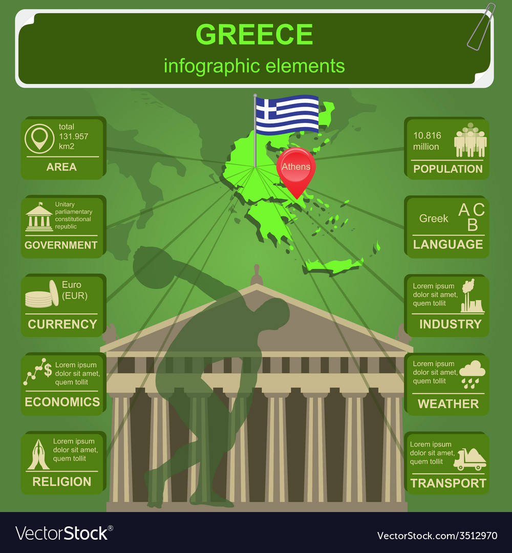 Greece infographics statistical data sights vector | Price: 1 Credit (USD $1)